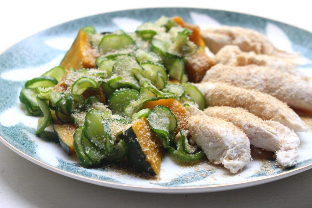 カボチャとしっ鶏の塩もみキュウリがけのサムネイル