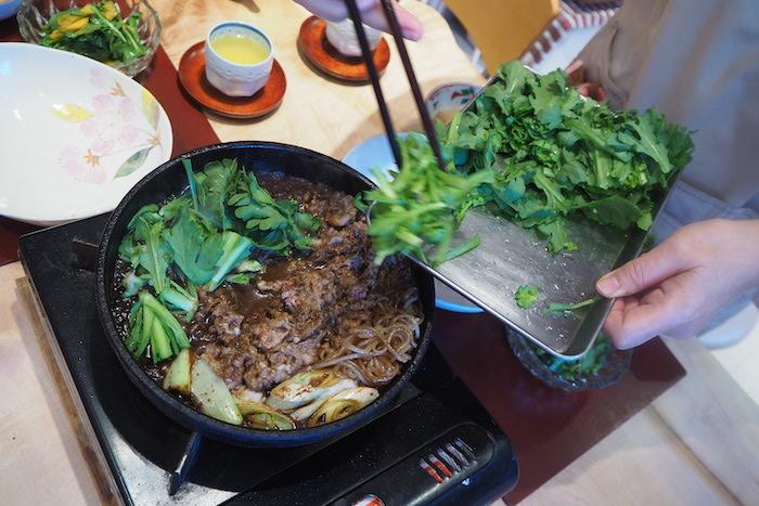 すき焼き菊菜、osakafoodstyle、なにわ料理、大阪産、女子会、大阪、天王寺、健康、野菜、和食、料理教室、健彩青果、大畑ちつる、レシピ、ごごナマ