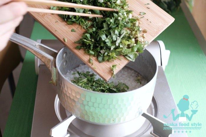 七草がゆ作る、七草粥、osakafoodstyle